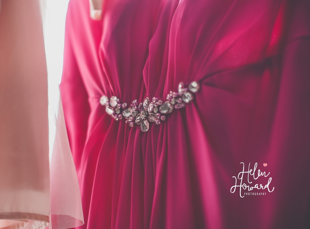 diamante detail on a pink bridesmaids dress