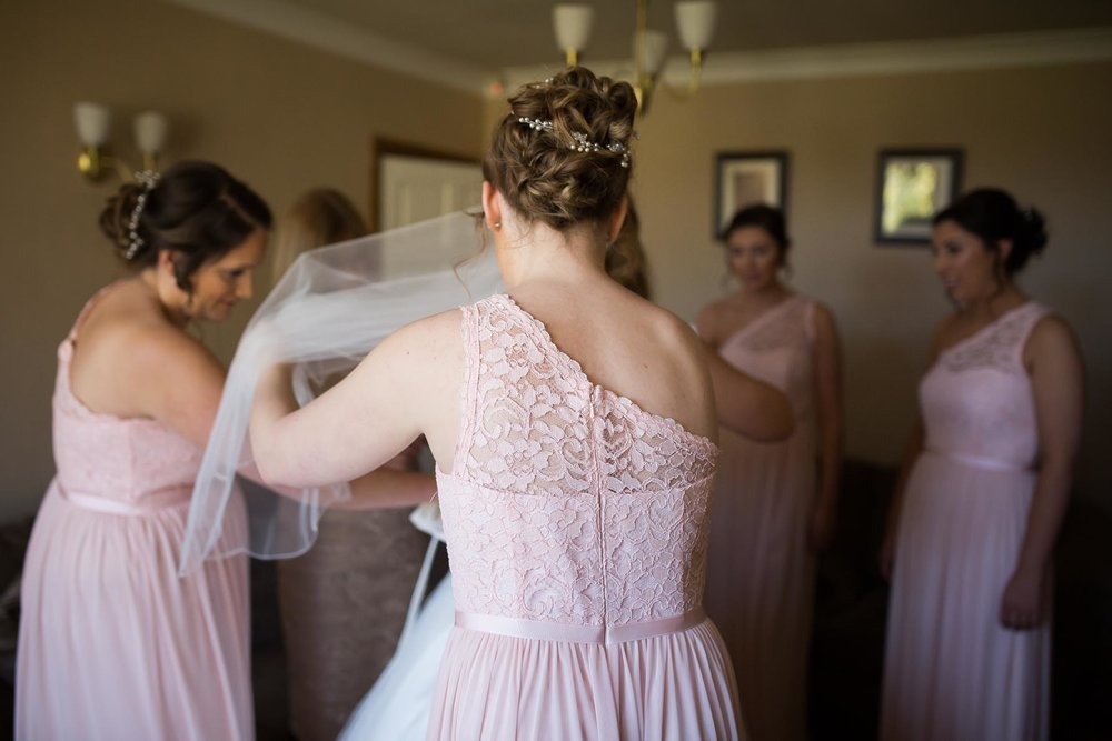 Bridesmaids getting ready lichfield wedding photography