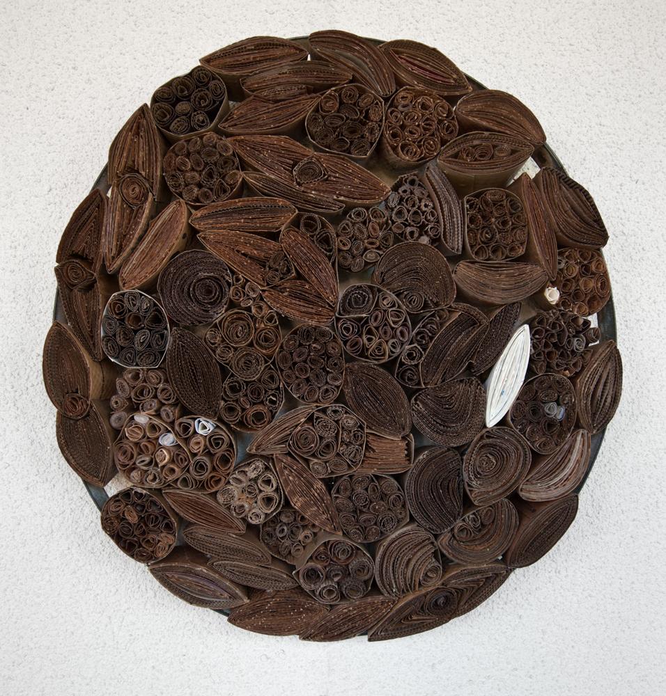 "Venti Iced Salted Caramel Mocha Latte   found cardboard and metal, w 25""x d 3.5"""