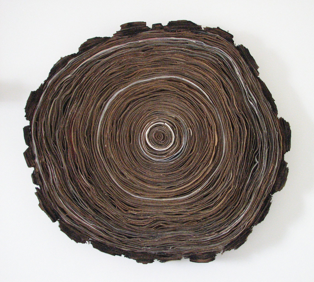 "Tree Ring  found cardboard, h 30"" x w 30"" x d 3.5"""