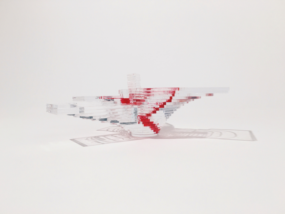"1/8"" = 1' analytical circulation model       clear acrylic with red paint"