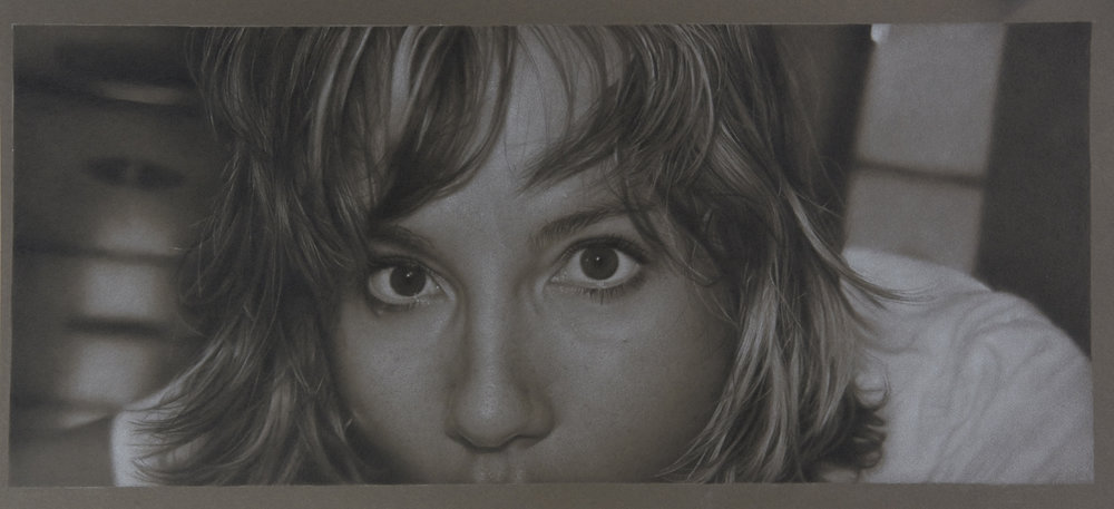 "Chanel, colored pencil on toned paper, 2015, 9 3/4"" x 22 3/4"""