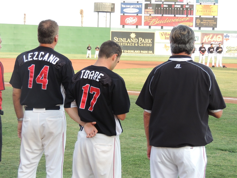 carlos lezcano and joe torre in 2012 with the el paso diablos. tim johnson (right)  was 2012 manager of the year.