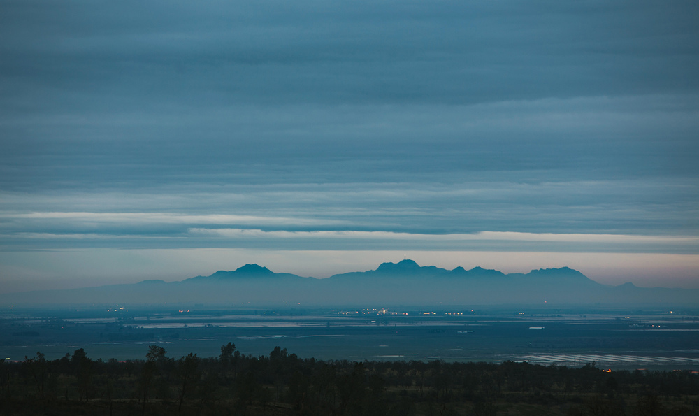 Sutter Buttes at dusk