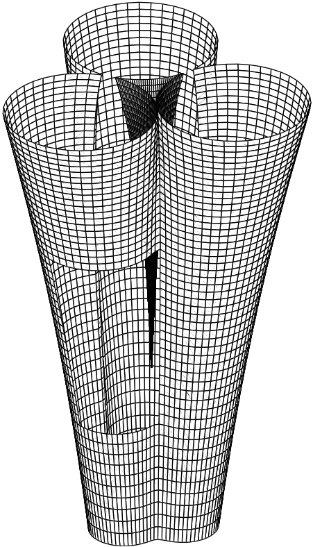 As three cylinders are heated and joined, the gap in the center closes. Inner and outer boundaries are shown in this simulation.