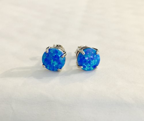 clear fire earring p stud crystals asp shaped square blue opal stone