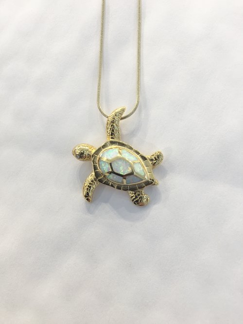 Gold turtle necklace with white fire opal gem mountain studios gold turtle necklace with white fire opal aloadofball Choice Image