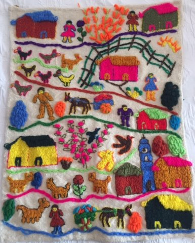 Colorful knit tapestry.