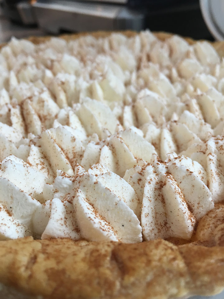 Cinnamon dusted whipped cream.