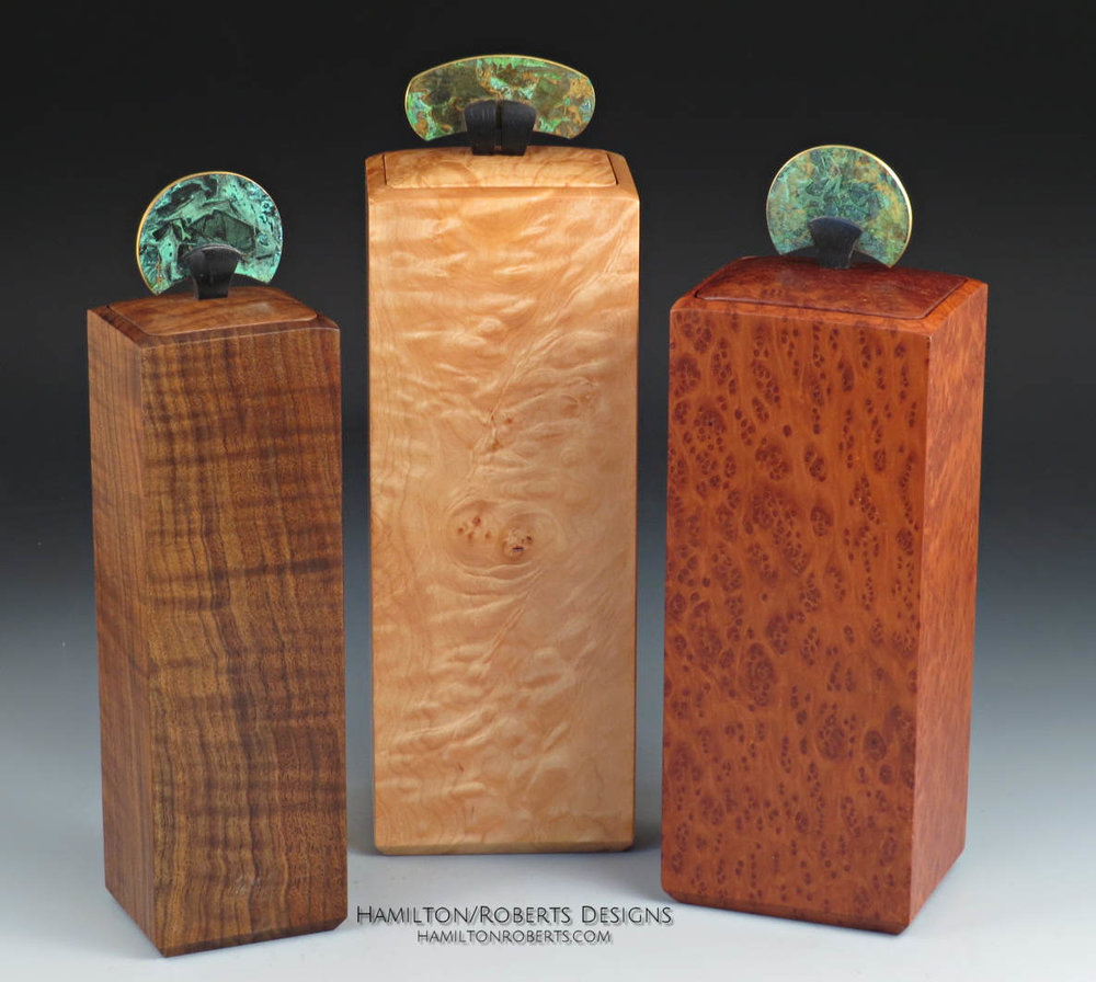 Three Tall Wood Boxes
