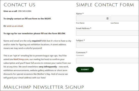 Contact Us/Newsletter Signup
