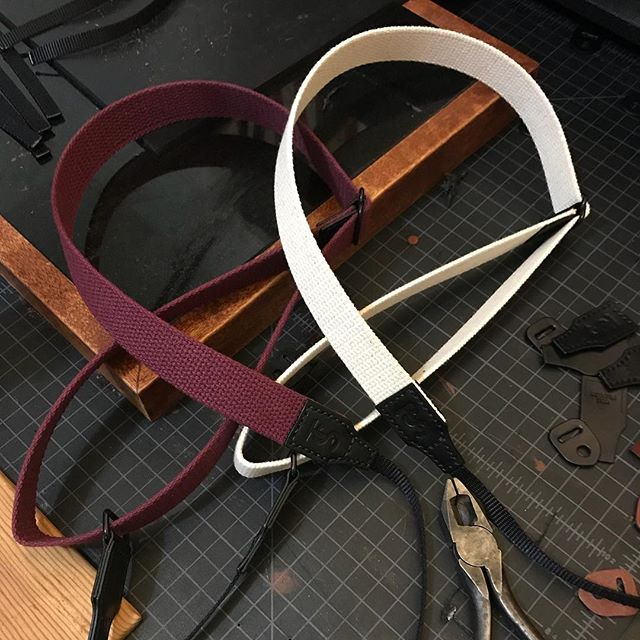 Exciting Friday night making some sample camera straps that we're going to be releasing next year. I'm digging the burgundy and white cotton webbing.