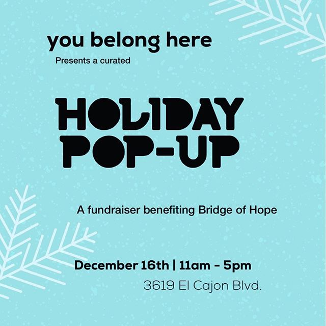 Join me and many San Diego makers/creatives at a unique holiday shopping experience curated by You Belong Here (@youbelongheresd). There will be raffles, food, drinks and cocktails, live music, and DIY stations. Enjoy the festivities with your friends and family.