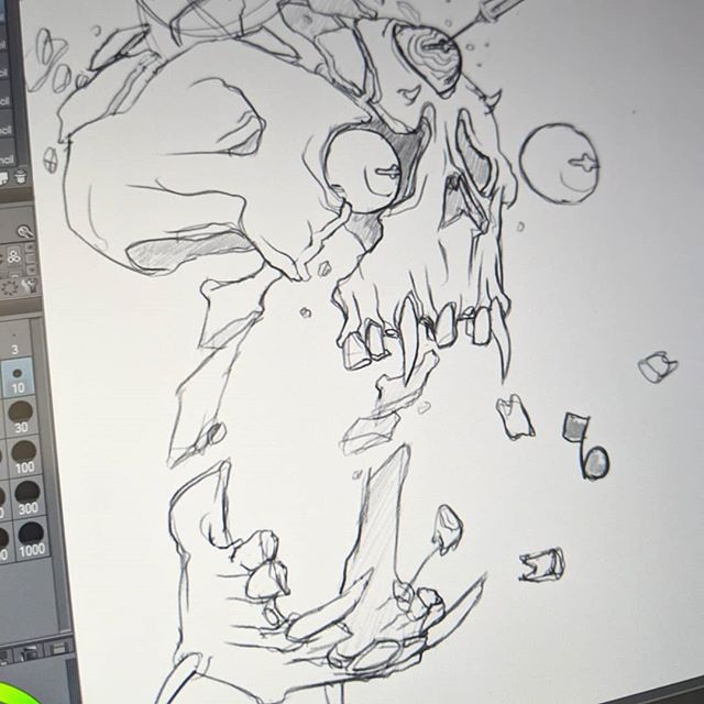 Process with #clipstudiopaint . I love how the pencil feels. This pic was the first I've ever done fully digital, because of that pencil feel. . #art by me ( Oozi ) .. #illustration #digitalart #sketching #digitalpainting #process #behindthescenes #skull #neon #drawing #thoseteeth