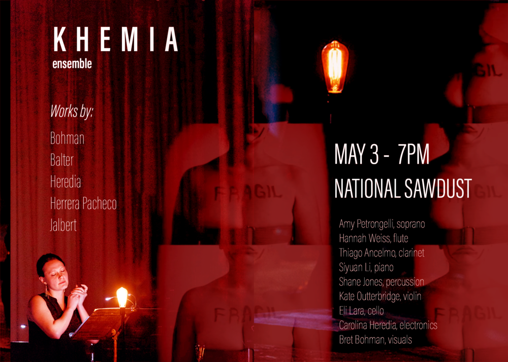 Poster for Khemia Ensemble's performance at National Sawdust on May 3rd