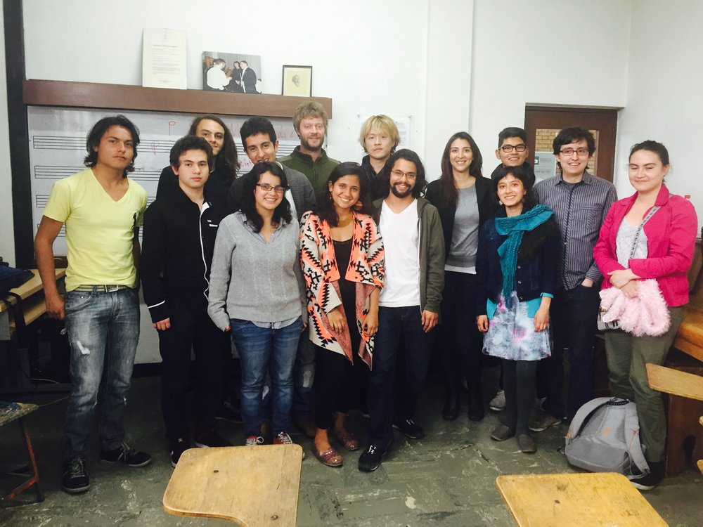 Working with composition students in Bogota, Colombia
