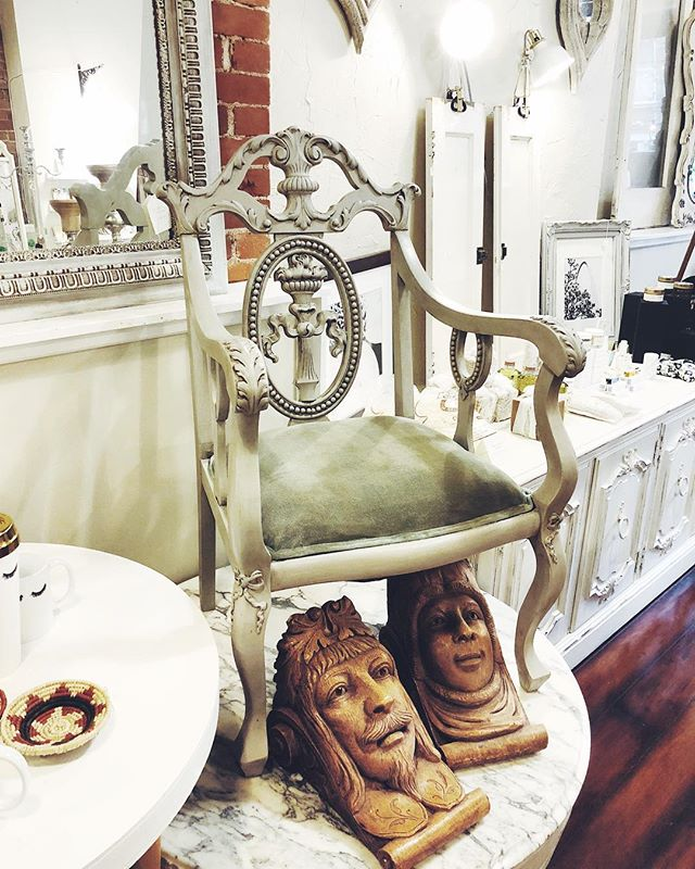 this stunning carved wood armchair is now available- we're open 12-5 today and tomorrow!  #bohemeatelier #bohemestl #cherokeeantiquerow #cherokeestreet #shopsmallstl #shoplocalstl #stlboutique #frenchdecor #bohodecor #curatedlife #eclecticdecor #bohointeriors #frenchinteriors