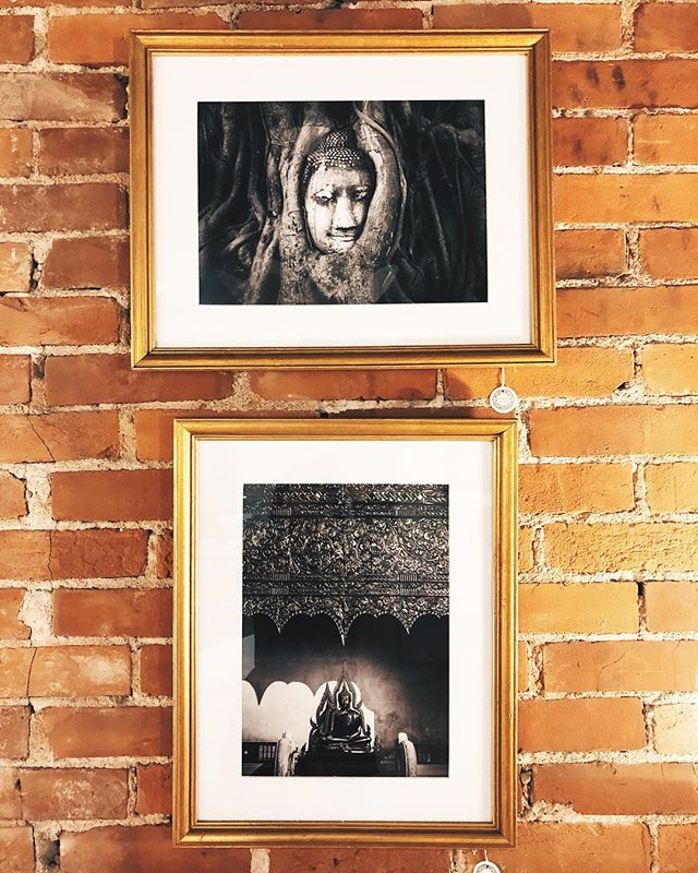 new pieces from @bohemephotographie! our house photographer is part of tryst on cherokee, a multi-day, multi-store art pop up, which has been extended until the end of this month.  kind of wanting to take home this pair of buddhas, in hand gilded vintage frames. but for now, they're here at the lovely little shop!  #bohemestl #shoplocalstl #shopsmallstl #stlboutique #cherokeestreet #cherokeeantiquerow
