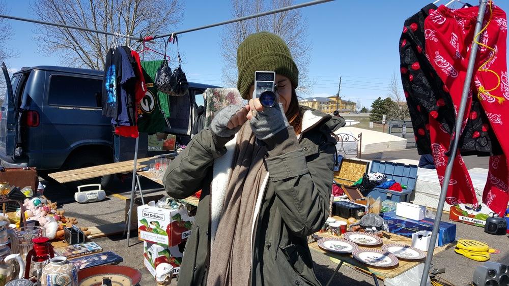 Flea marketing at the Mile High Flea Market in Denver, Colorado.