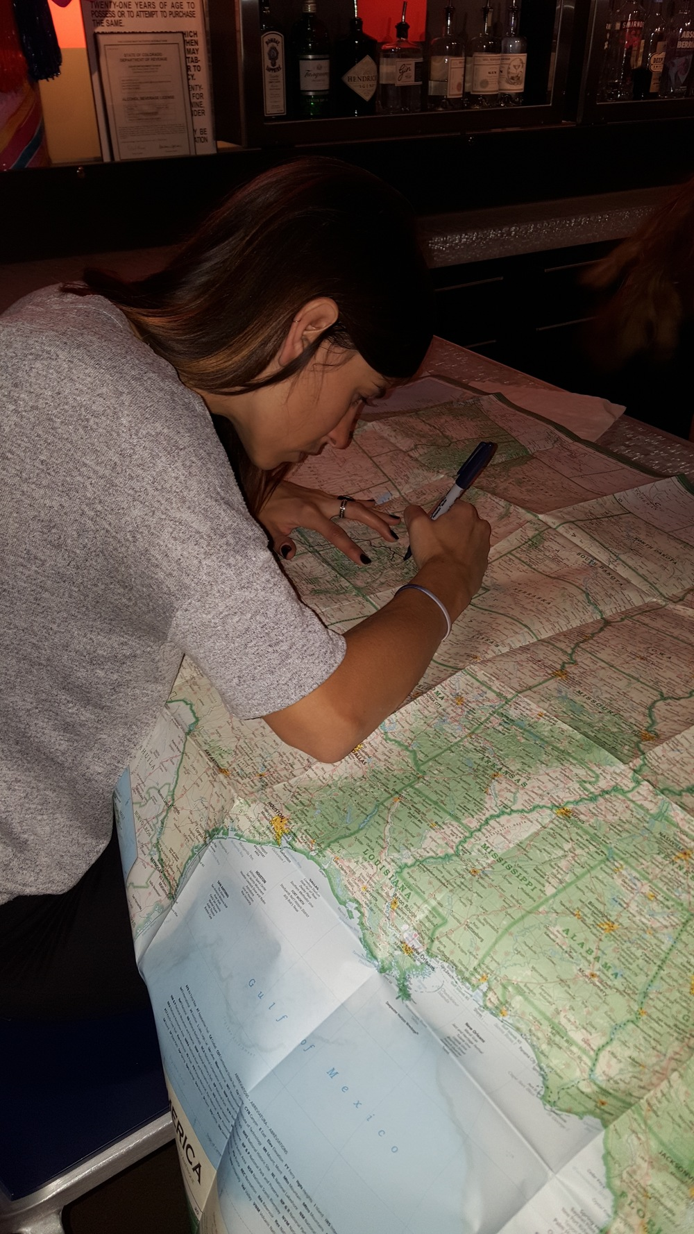 Plotting out the roadtrip course.