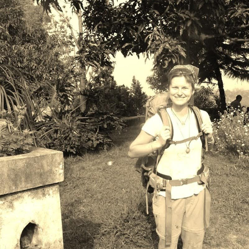 """Marichelle calls this her """"classic backpacker photo."""" On-site at the Dev Bala Organic Farm in India."""