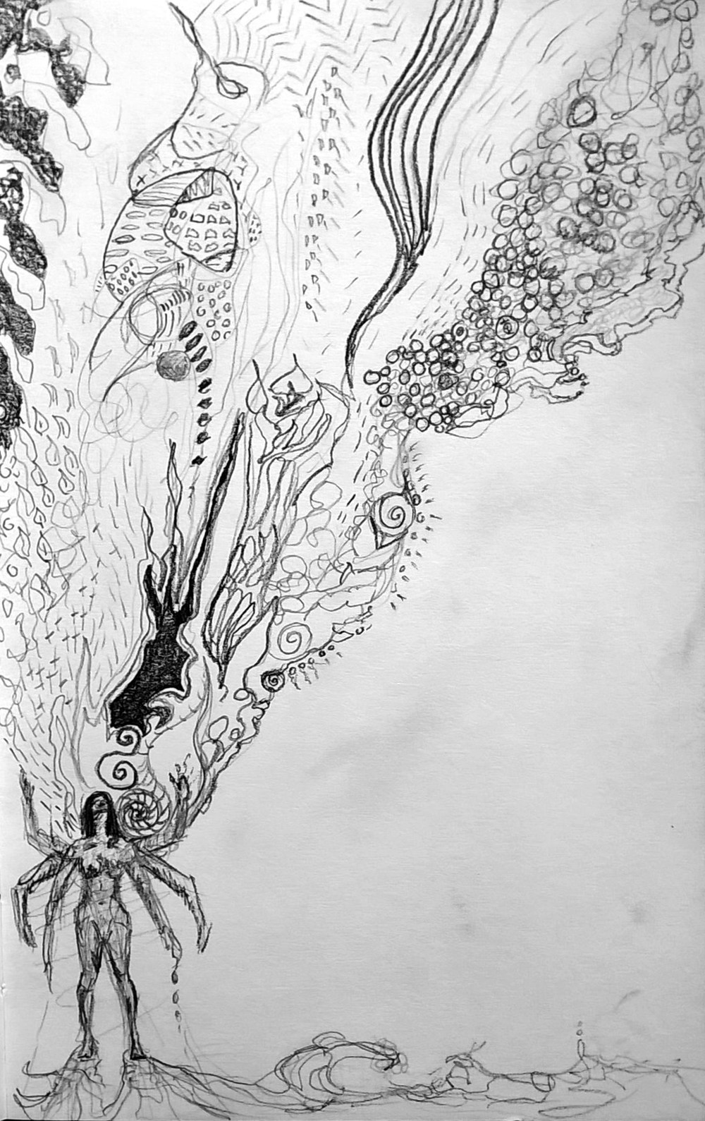 "Marichelle's artwork: ""Learning to let the experiences move through me and then let them go."""