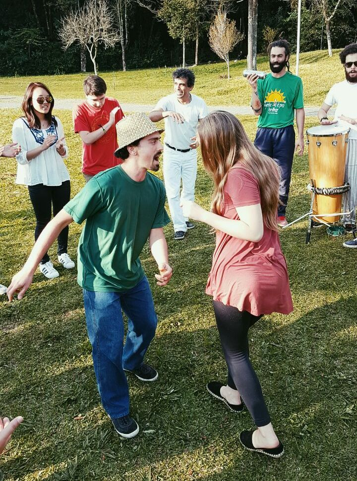 Capoeira and Samba dance and music lessons in a park in Curitiba with the entire cohort.