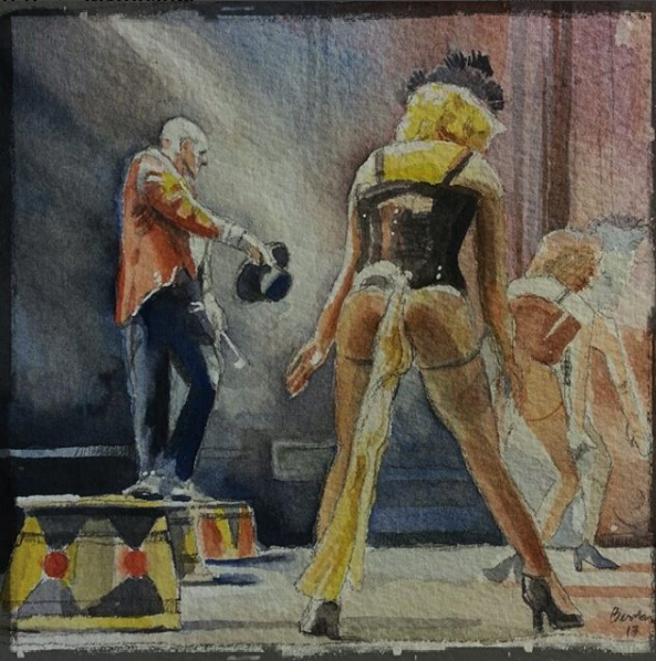 Peekaboo Revue (watercolor on Arches)
