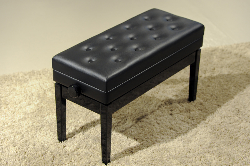 HY-P J021 - Double stool with music compartment in ebony finish  |  $375.