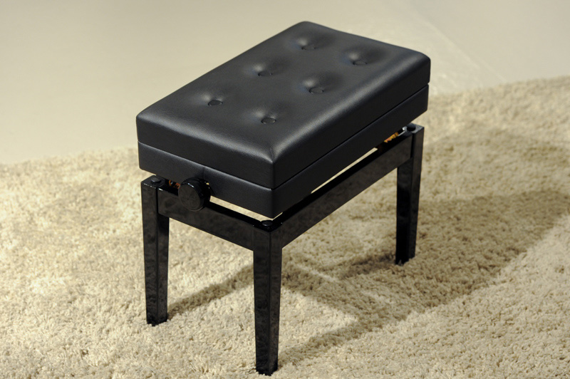 HY-P J007 - Adjustable single stool with storage in Ebony Finish  |  $275.