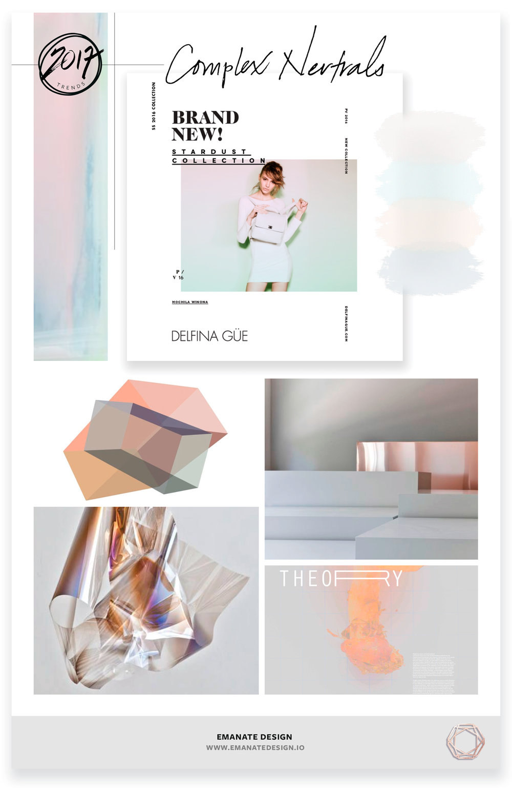 2017 Trends / Complex Neutrals / Emanate Design  Clockwise from Left:  Holographic - Matt McClune ,  Editorial ,  Geometric Room ,  Theory ,  Acetate - Larry Bell ,  Geometric Graphic