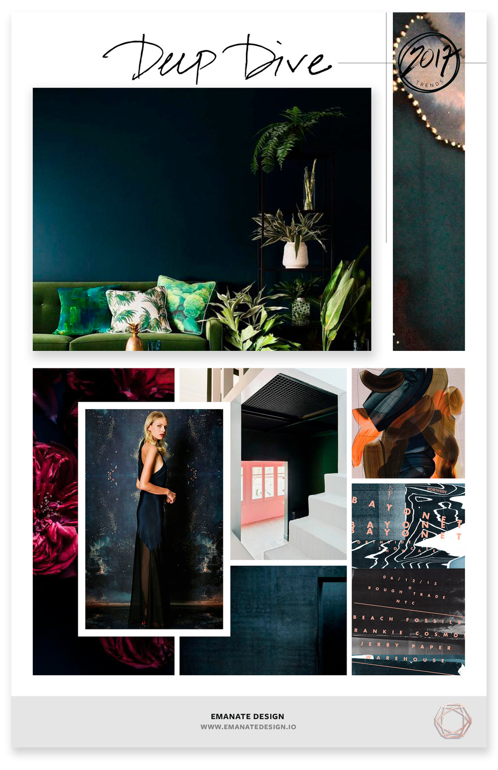 2017 Trends / Deep Dive / Emanate Design  Clockwise from Left:  Living Room ,  Ink ,  Paint Strokes ,  Bayonet ,  Navy Room ,  Flowers ,  Gown ,  Stairwell