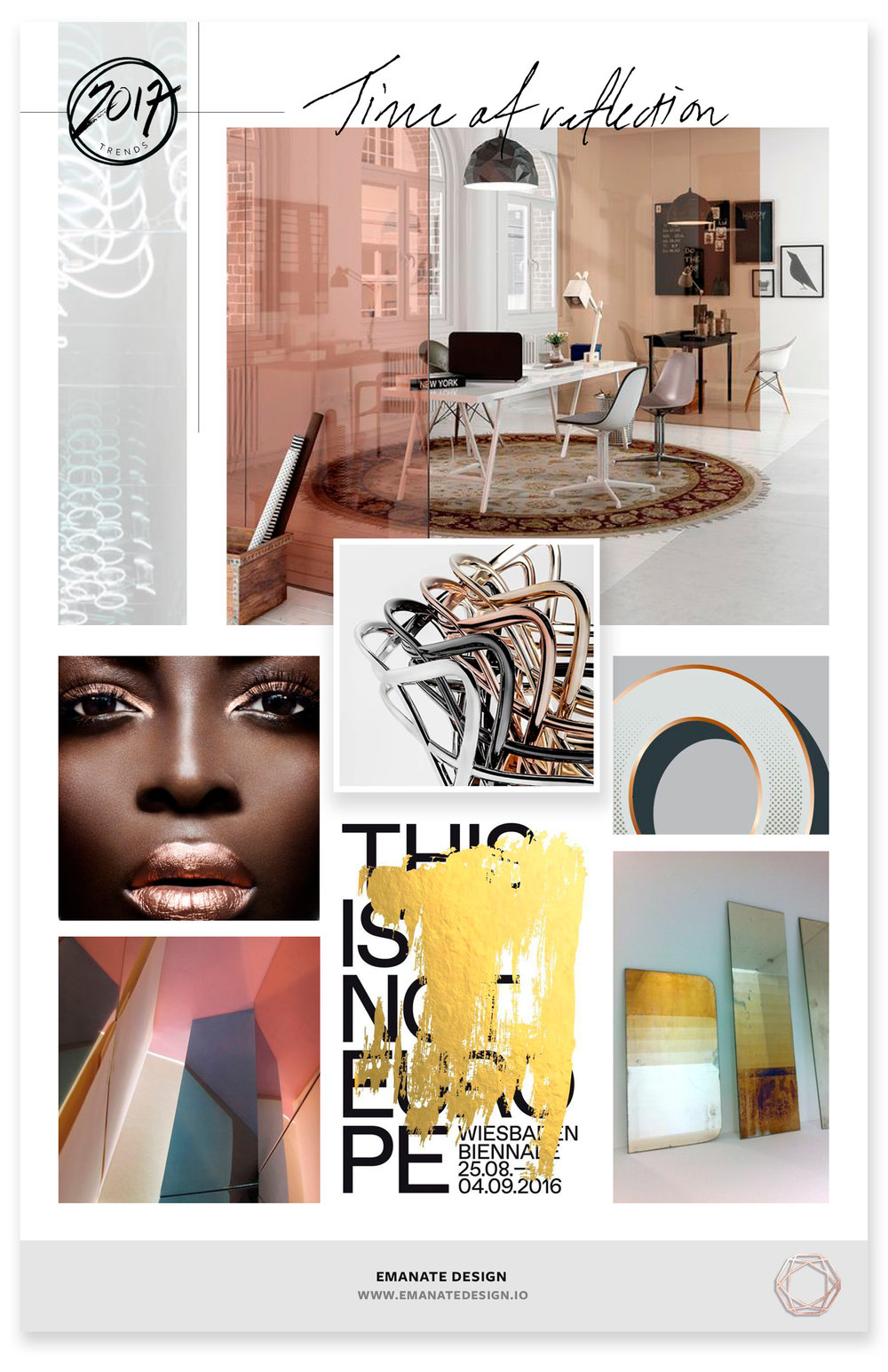 2017 Trends / Time of Reflection / Emanate Design  Clockwise from Left:  Neon - Brigitte Kowanz ,  Office ,  Chairs ,  Typeface ,  Mirror ,  Poster ,  Andrea Tognon - Interior,   Makeup