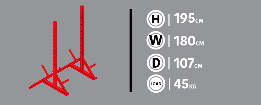 Adjustable Squat Rack Diagram & Dimensions