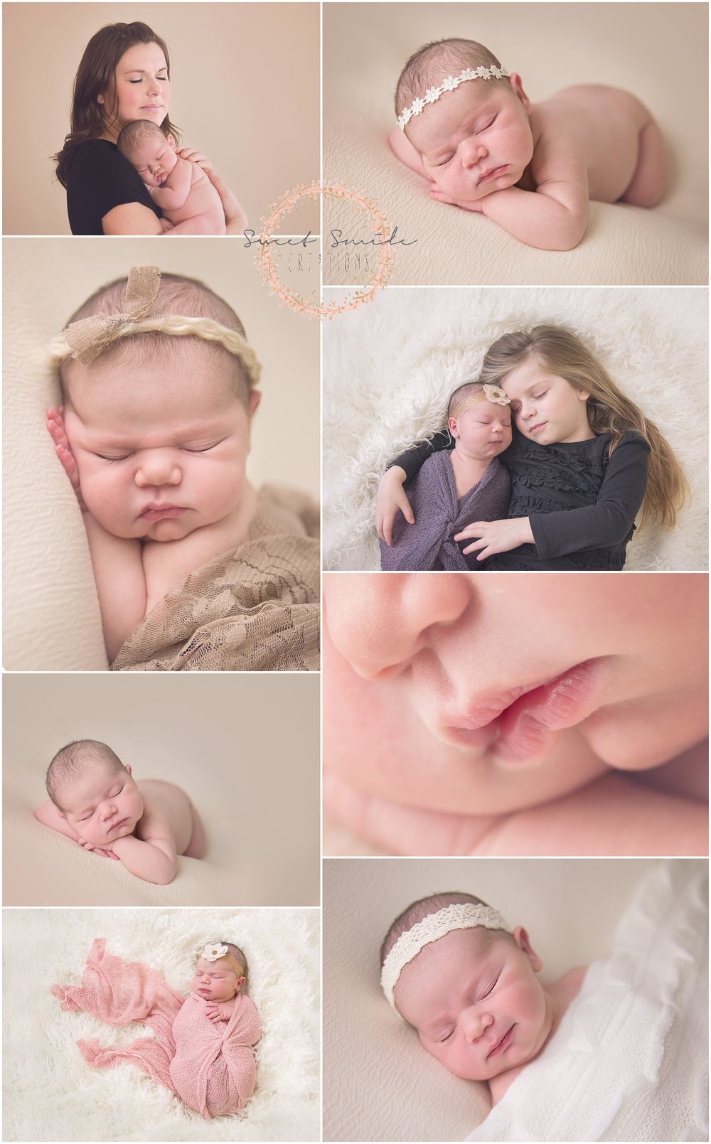Newborn Baby girl session. Mommy pose, sibling pose. Sister with newborn. newborn smile. www.sweetsmilecreations.com