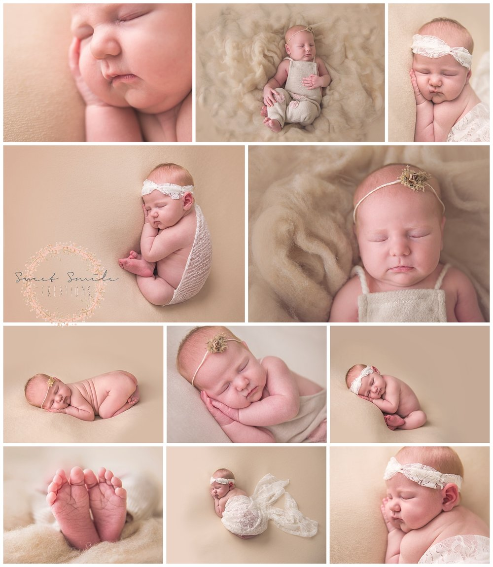 Newborn baby girl. Baby feet, Taco pose, bum up pose. www.sweetsmilecreations.com