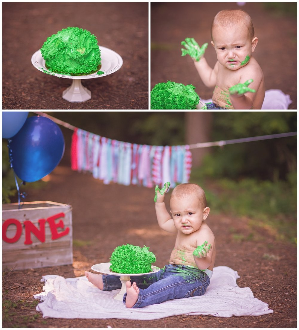 Baby Boy Cake Smash for his first birthday. Cake on hands and not liking it.