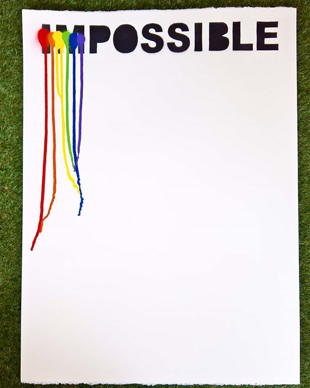 imPOSSIBLE limited edition. Spray on 300 g fabriano paper. Available today @wallerygallery  Only ten signed and numbered made. Link in bio #jagsthlm #imPOSSIBLE #thediagnosedgeneration #wallerygallery #wallery #contemporaryart #pride