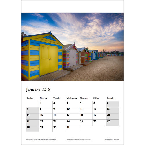 2018 melbourne colour a3 wall calendar david brewster photography
