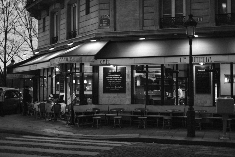 A French cafe façade in Paris, France