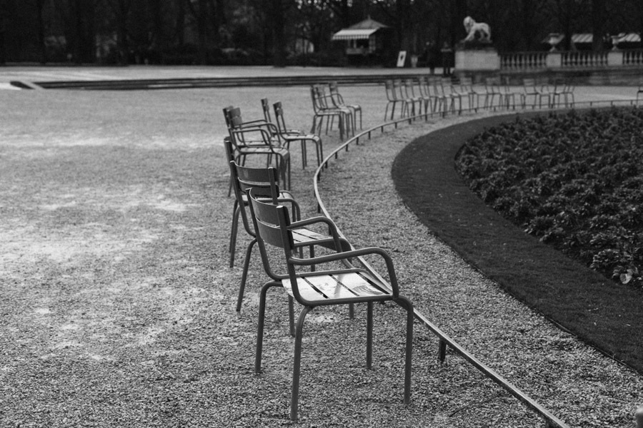 Empty chairs at Jardin de Tuileries in Paris, France