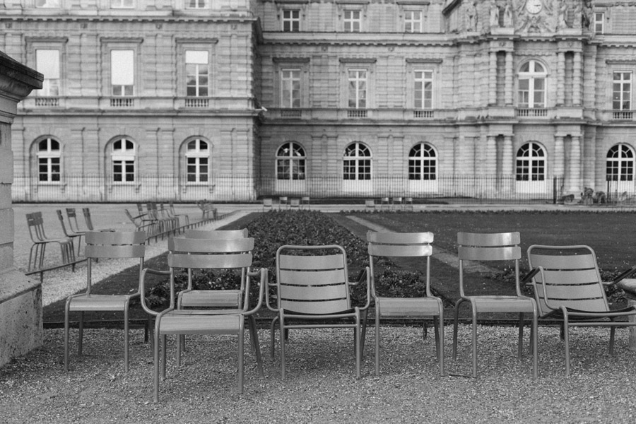 Empty chairs at Jardin de Tuileries in Paris