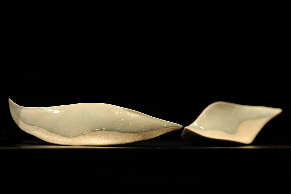 """Unda"", wood fired porcelain, celadon glaze"