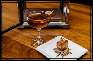 Bar Dupont 's Fine and Brandy paired w/spicy pork belly and Asian slaw.  Photo Credit: Joy Asico