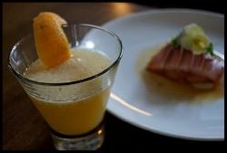 Momijiko and hamachi crudo, yellow tail yellow tail sashimi.