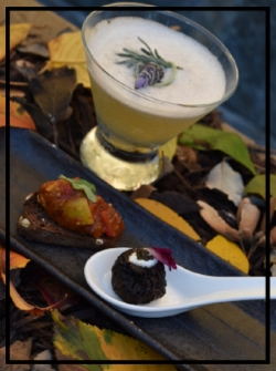 Mandarin Oriental Washington D.C.'s South of the Lake cocktail w/ a fig and ratatouille. Photo credit: Nia Henry