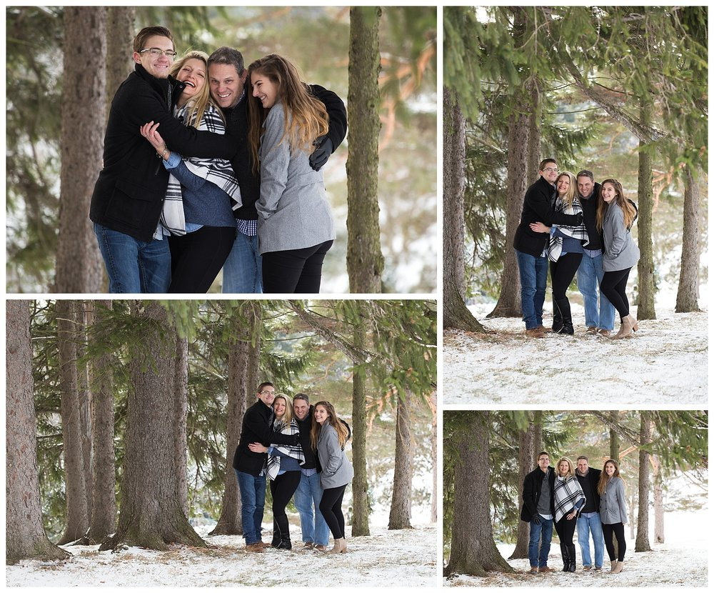 Winter Pine Tree Family Session in Wheeling, WV