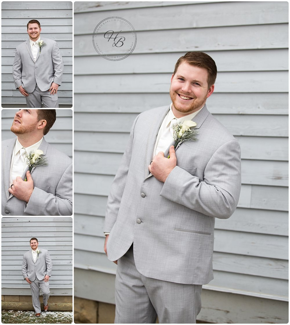 Winter Wedding Groom Photos Wellsburg WV
