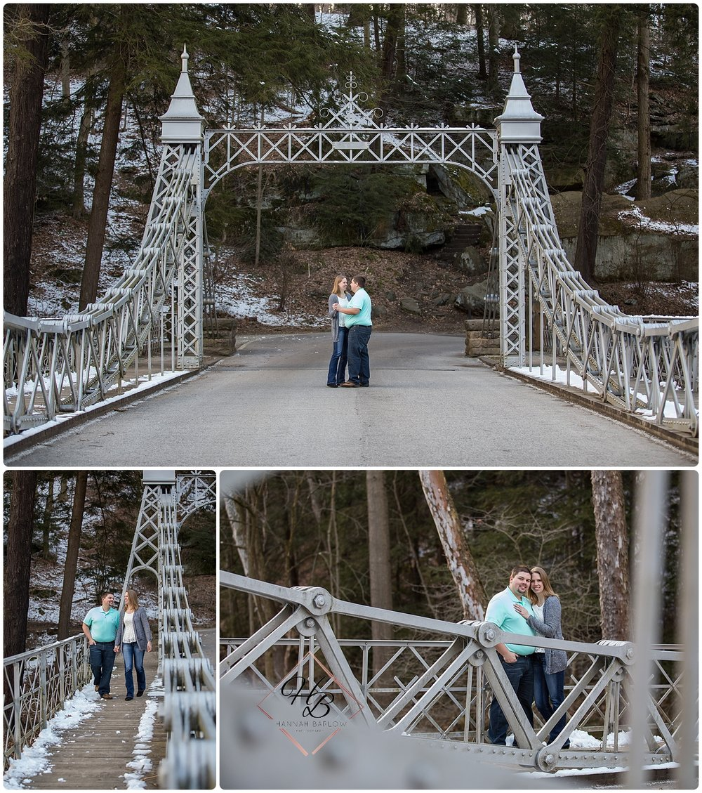 Youngstown, OH Engagement Photo Mill Creek Metro Park Bridge