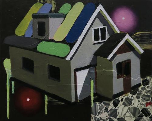jake clark model house 2015 oil and linoleum on canvas 43x53cm